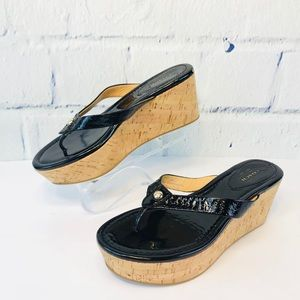Coach Pat Leather Cork Wedge Sandals Gently  Worn